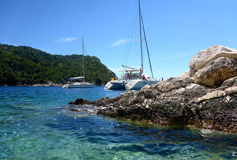 View of Croatian coves and beaches from the yacht