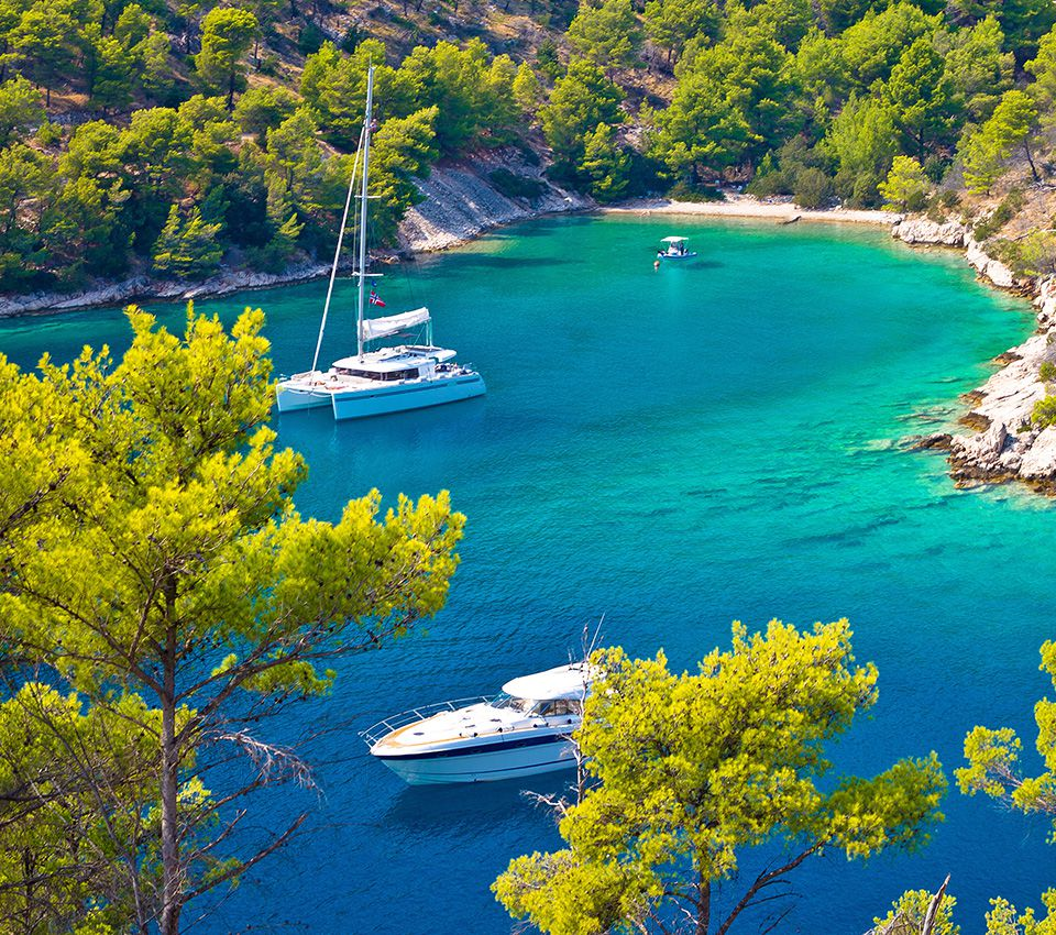 Anchored Catamaran Brac Croatia