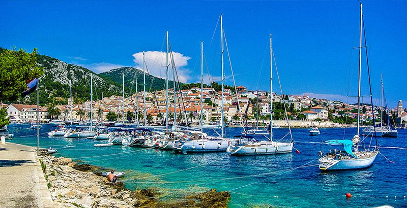 Sailing on Adriatic sea to Hvar, Croatia