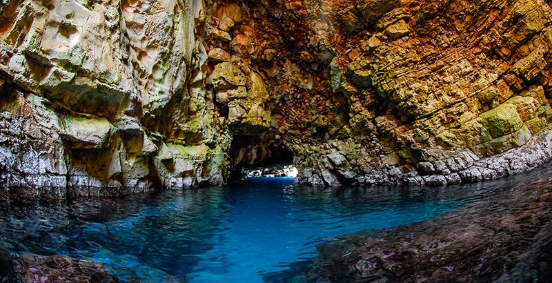 Inside of the Odysseus Cave on the island of Mljet Ogygia